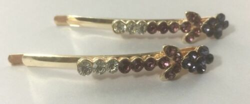 NEW Pair Diamante Crystal Kirby BOBBY Hair Clip Pin Slide Grip Girl Ladies Party