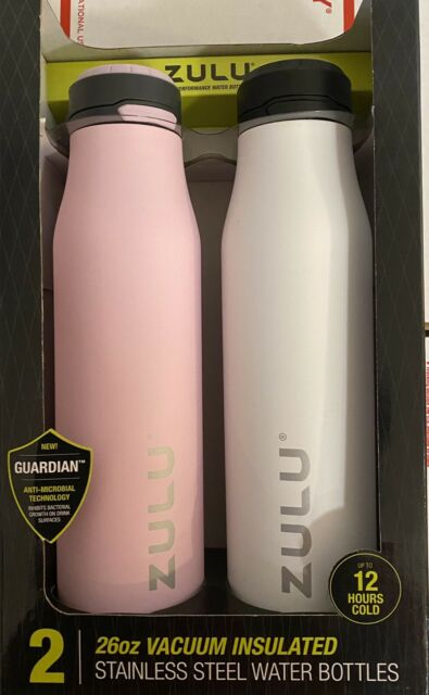 ZULU 26 oz. Stainless Vacuum Insulated Water Bottle 2 Pack Leakproof One Touch