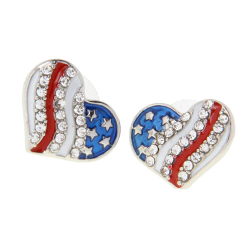 USA US American National Flag Heart Earring Patriotic Earring Stud Jewelry