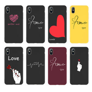 fe7813bd41 Fashion Love Heart Painted Soft Case Couples Cover For iPhone XS Max ...