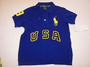 NEW Polo Ralph Lauren Big Pony navy blue  yellow boys  shorts size  9 mo or 2T