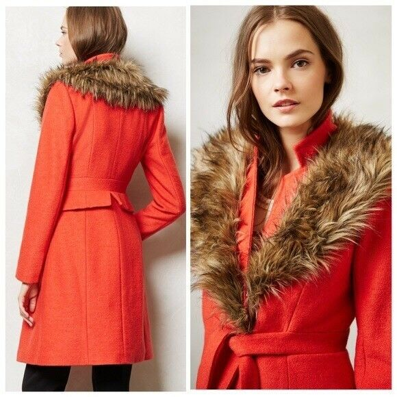 Anthropologie PLENTY By TRACY REESE Coral MONTAIGNE COAT Size 0 Faux Fur Collar