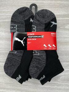 Puma Men's 6 pack Performance Quarter Crew Socks size 10-13 Black with Gray Sole