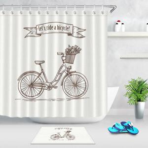 Image Is Loading Vintage Shower Curtain Postcard Of Retro Bike Tulip
