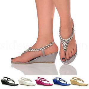 Womens-ladies-diamante-jewelled-wedding-evening-toe-post-mid-wedge-sandals-size