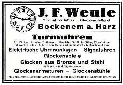 Turmuhr Fabrik Weule Bockenem Reklame 1925 Glockengießerei Werbung Uhrenanlage