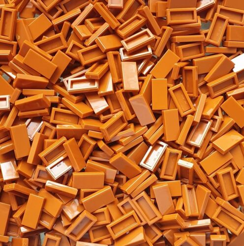 009 Lego ® 500 Piece Tile 1 x 2 Dark Orange//Dark Orange #3069b NEW