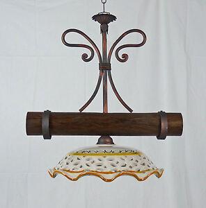 Dettagli su Sospensione a lampadario per cucina led ferro battuto legno e  ceramica art.L70