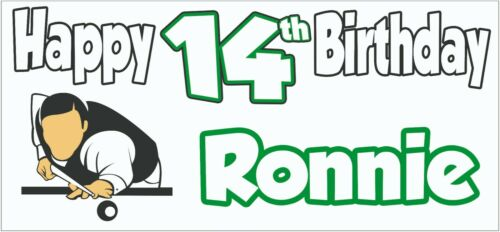 2 Personalised Snooker 14th Birthday Banners Decorations Son Boys Teenager