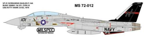 F-14A TOMCAT VF-51 SCREAMING EAGLES MILSPEC DECAL 1979 MS 72-012 1//72 SCALE