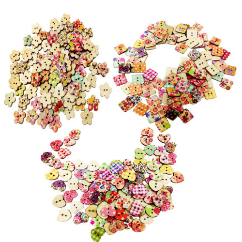 300 MIXED 2 HOLES FLORAL WOODEN BUTTONS 2 HOLES SEWING BUTTONS SCRAPBOOKING