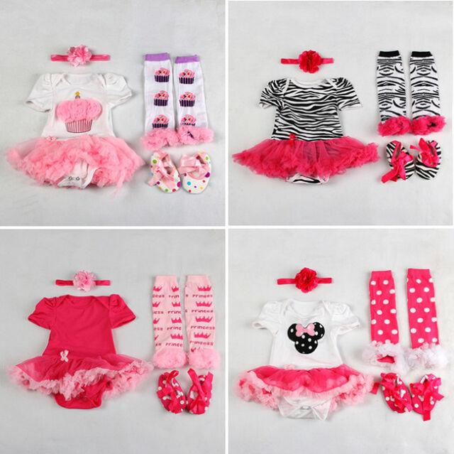 Kids Newborn Infant Baby Girl Headband+Romper+Leg Warmers+Shoes Set Clothing