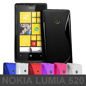 Housse-gel-Etui-Silicone-Coque-Protrection-Arriere-Case-S-Line-Lumia-520-ou-Film