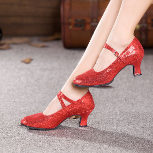 Ladies Ballroom Gliter Latin Tango Salsa Dance Shoes Wedding Party Heels Indoor