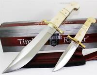 Timber Rattler Camel Colored Full Tang Bowie Hunting Skinning Knife Set + Sheath