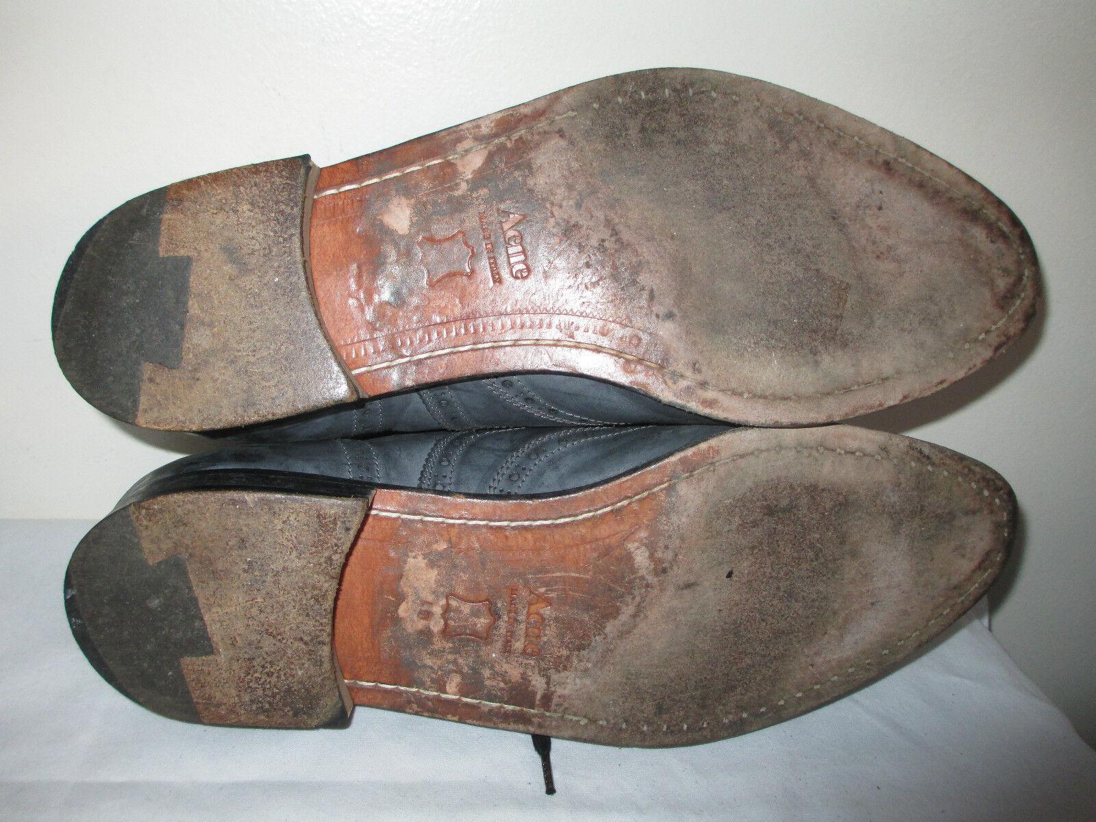 ACNE uomo's Navy Blue Lace RARE! up Wing Tips Leather Shoes Italy Sz 12.5 RARE! Lace Scarpe classiche da uomo a59864