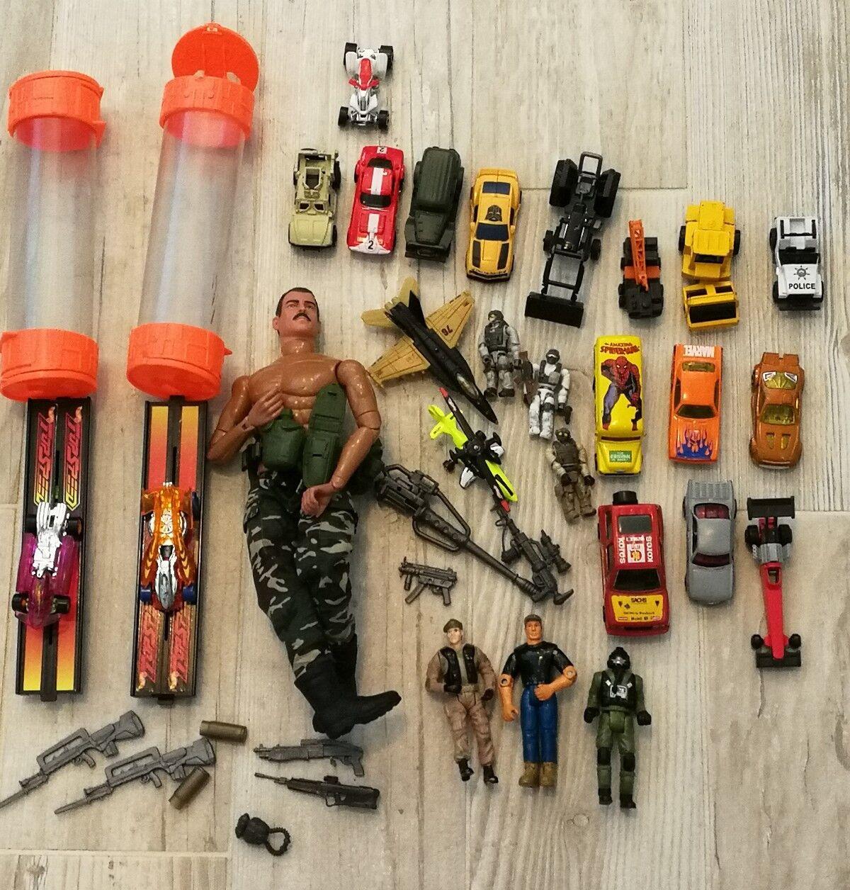 Junk Drawer Lot Top Speed Hot Wheels Match Box GI Joe Diecast Marvel VTG Halo