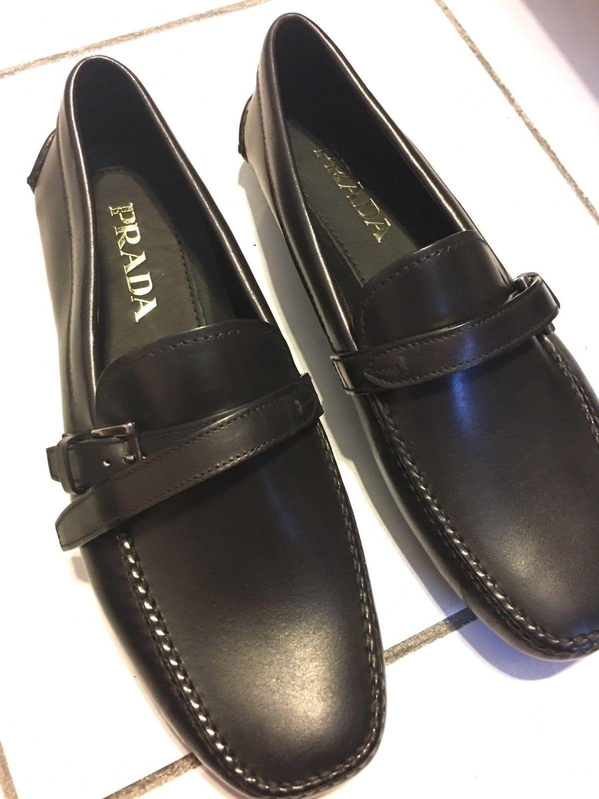NIB PRADA Men's classic vitello black calf leather driver Size 6.5 M ITALY
