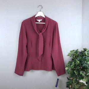 NEW-Pendleton-100-Silk-Berry-Neck-Tie-Blouse-Size-16P-Petite-Long-Sleeves-NWT