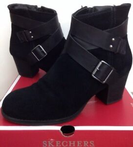 dependable performance meet uk store Details about Skechers Taxi Womens Winter Ankle Boots Sz 8 Black  Criss-Cross Strap Buckle Heel