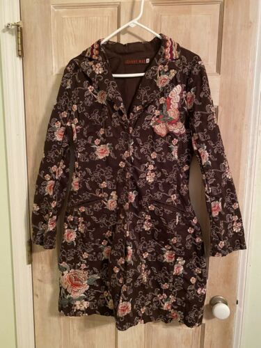 Johnny Was, Brown Multi Color Floral Embroidered T