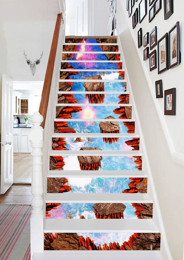 3D Volcanic Water Stair Risers Decoration Photo Mural Vinyl Decal Wallpaper AU