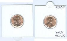 USA 1 cent Lincoln 1958 P memorizzare freschi fino timbro lucentezza (ms-64)