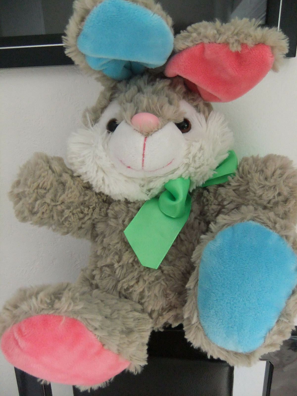 14  PAWS WL GREY WHITE PINK blueE BUNNY RABBIT TEDDY SOFT CUDDLY TOY NEXT EASTER