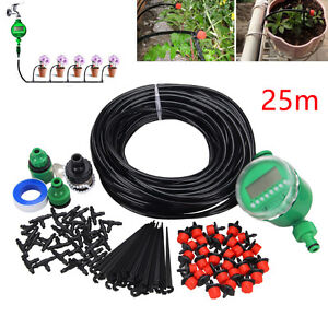 Image is loading 25m-DIY-Drip-Irrigation-System-Plant-Auto-Timer-
