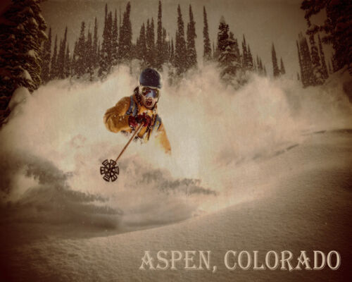 POSTER ASPEN COLORADO WINTER SPORT SPEED DOWNHILL SKIING VINTAGE REPRO FREE S//H
