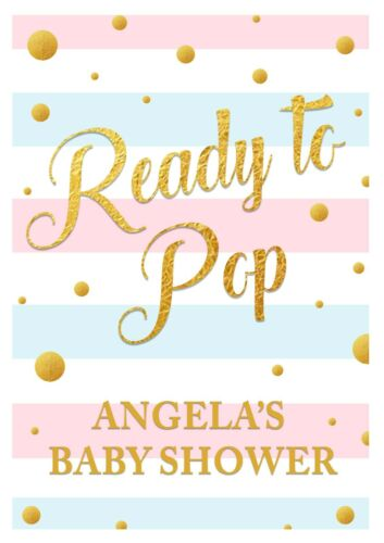 PERSONALISED BABY SHOWER BANNERS /& POSTERS PARTY DECORATIONS BLUE PINK YELLOW