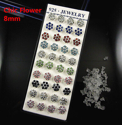 Wholesale Lot 40Pcs Mixed Color Crystal Ear Stud 925Solid Silver Earrings
