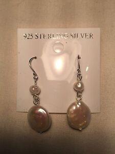 Vintage-Handmade-Argent-Sterling-925-Veritables-Pink-Pearl-Dangle-Earrings