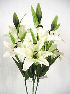 Top quality artificial silk flowers 3 stems of large ivory lilies image is loading top quality artificial silk flowers 3 stems of mightylinksfo