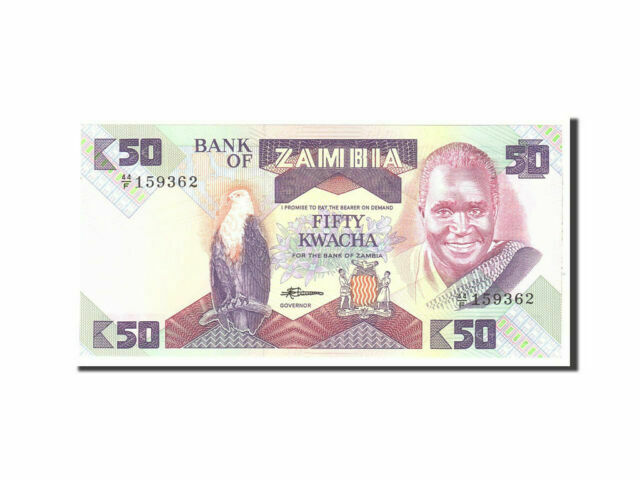 UNC World Currency 1986-88 P-28 ZAMBIA 50 Kwacha
