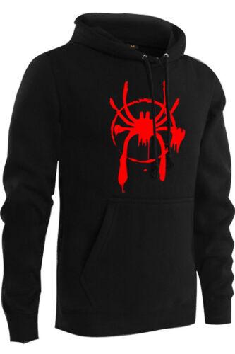 Men Hoodie Spider-Man Into the Spider-Verse Mile Morales Pullover Pocket Cosplay