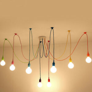 Details About 1 6 8 10 Heads Colorful Spider Hanging Pendant Light Chandelier Ceiling Lamp E27