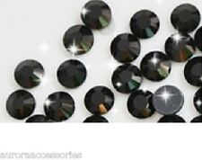 4mm Excellent Quality Hot Fix/Iron On Crystal JET BLACK Flatback Round SS16