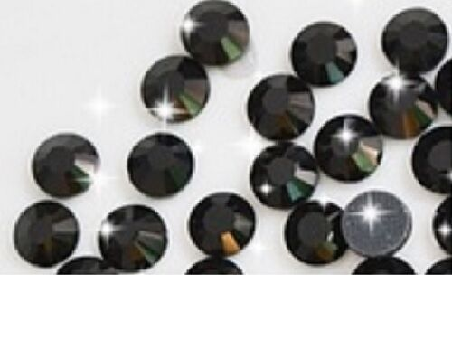 6mm Excellent Quality Hot Fix//Iron On Crystal JET BLACK Flatback Round SS30