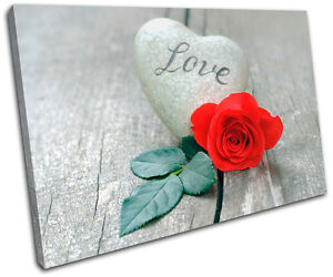 Details about Red Rose Heart Love SINGLE CANVAS WALL ART Picture Print VA