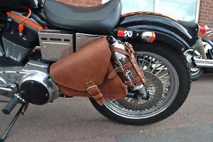 Harley-Davidson-SPORTSTER-cuir-marron-GAUCHE-sacoche-panier-1L-Argent