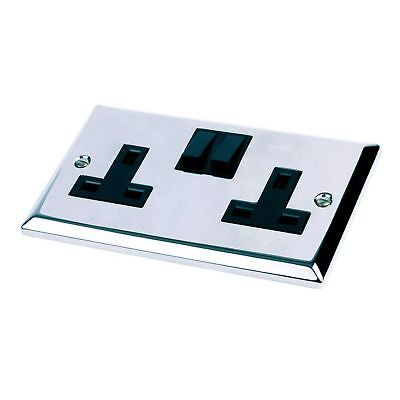 Double Wall Socket Polished Chrome 2 Gang Bright Mirror 13 Amp Electrical Plug