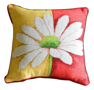 Tache 2 PC Floral Red White Square Loves Me Not Cushion Throw Pillow Cover Set