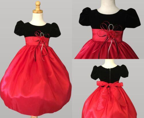 Red Christmas Velvet Toddler Girl Elegant Formal Pageant Recital Dress #32
