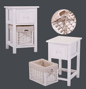 Details About Simple Nightstand Bedside End Table Organizer W 1 Wicker Basket Set Of 2 White