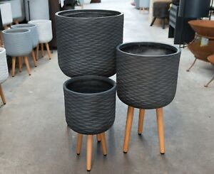 Outdoor-Garden-Patio-Round-Pot-Plant-Stand-Tripod-Wood-Legs-Wave-Java-Black