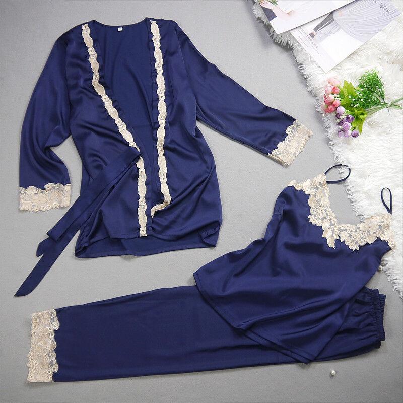Nueva señoras de mujer de Seda Lujosa Juego de 3 Azul Real Pijamas Pijama ladpj 202