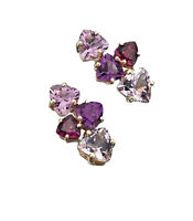 Unique Wishlist 9ct Yellow Gold Multi Stone Amethyst & Garnet Studs Promotion