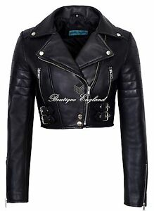 08b96e6c1f6 Ladies Biker Short Body Leather Jacket BLACK Biker Style 100% REAL ...