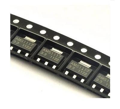 100pcs NEW AMS1117 AMS117-3.3 3.3V 1A Voltage Regulator SOT-223 CA NEW